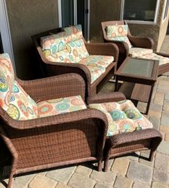 Patio set, wicker with seat cushions