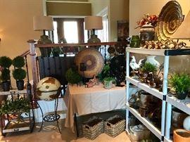 Globe, lamps, baskets, bowls, vases, artificial plants, pots, statues, figurines, wall hangings, artwork, etc