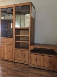 2 glass door bookcases on top  cabinet doors on bottom, and TV credenza, will sell seperately or as a unit