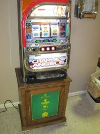Charlies Angels Pachinko Slot Machine with Bally Tall Electric Series Casino Green Base Cabinet