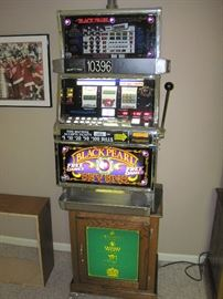 IGT Black Pearl Sevens Slot Machine with Bally Tall Electric Series Casino Green Base Cabinet