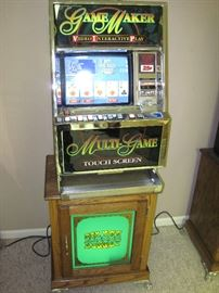 Bally Game Maker Touch Screen Video Poker Machine with Bally Tall Electric Series Golden Nugget Green Base Cabinet