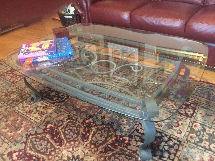 Pewter iron coffee table glass top beveled edge $250