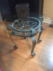 Pewter IRON in tables beveled glass top $85ea.