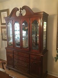 Cherry wood china cabinet  dining room set table and six chairs $1,500