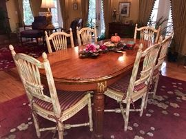Dining Room Table and 6 Chairs- Distressed treatment on chairs
