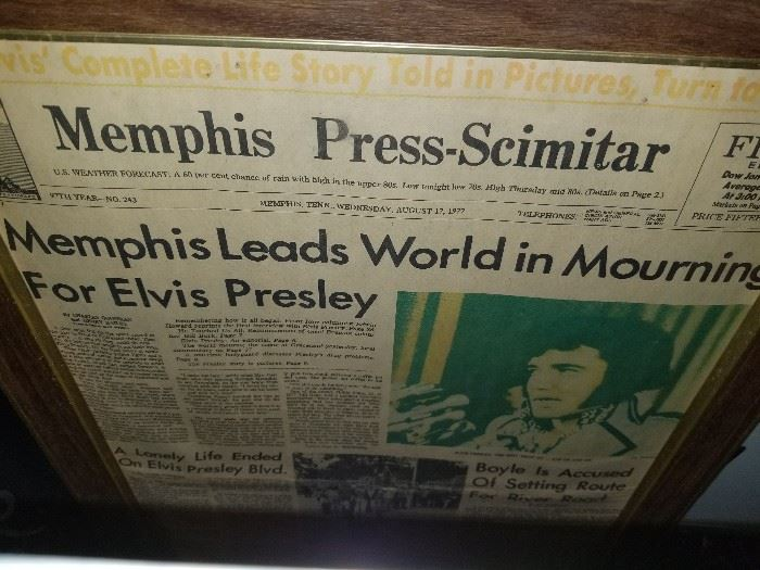 One of numerous framed Elvis articles
