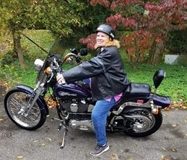 Laura, Rockin the leather and the Harley