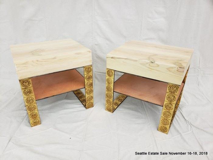 Wood slab side table with gilt-medallion base and stretcher shelf.