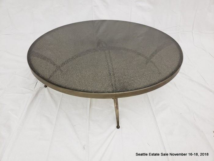 Vintage Bronze and crackled glass round coffee table.