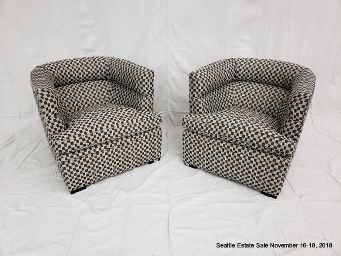 Black and white checked upholstered club chair.