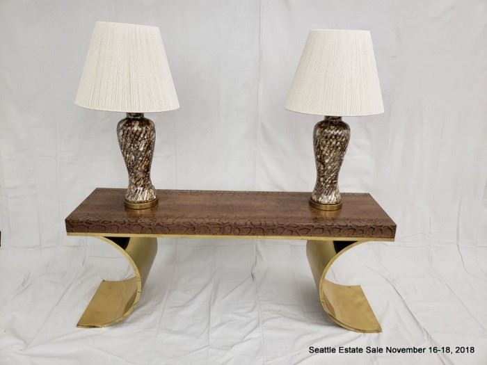 """KARL SPRINGER Console table with python-covered top on polished  brass base. 24"""" x 60"""" x 16"""""""
