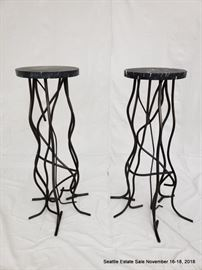 Wrought iron and marble bar accent table.