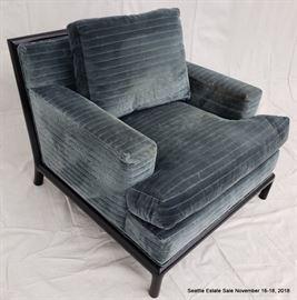 Velvet upholstered club chair.