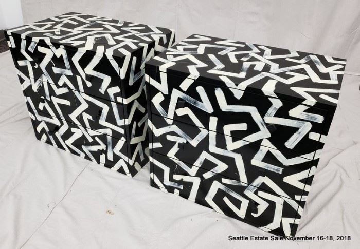 Black and white Keith Harring inspired side table.