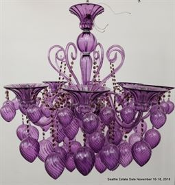 Pair of La Merrina Murano Purple Glass Chandelier. (Sold separately)
