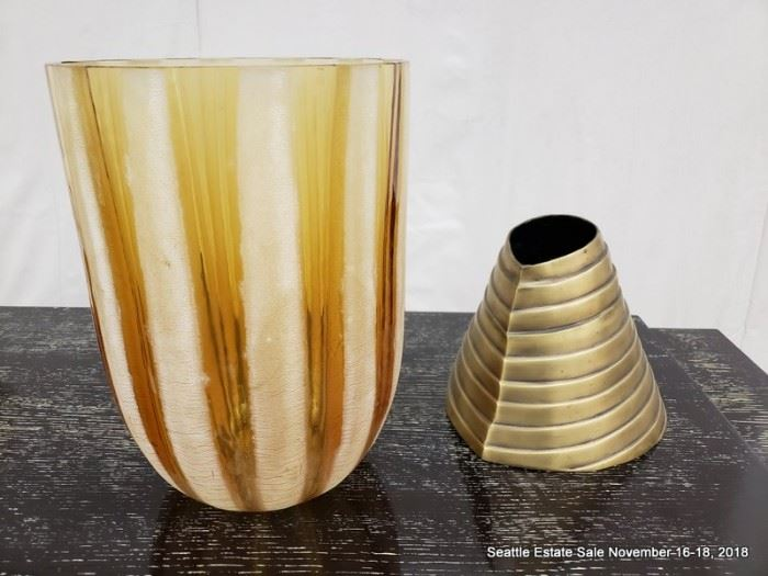 Kelly Wearstler designed bronze cone accent. Barbini Murano etched amber glass vase.