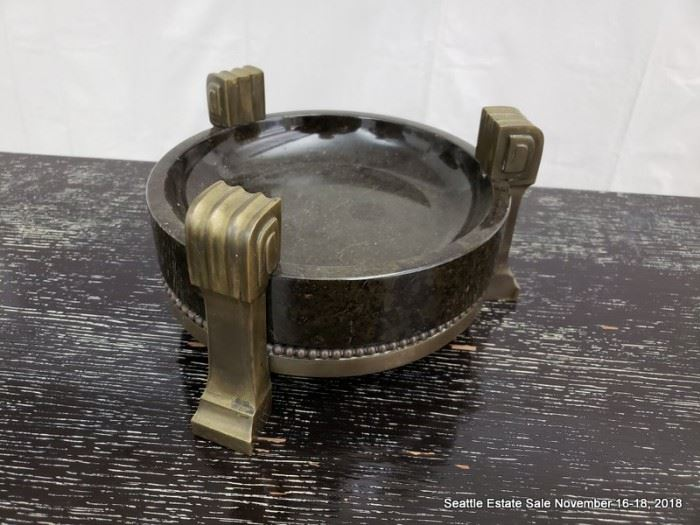 Art Deco-style bronze and stone catchall tray.