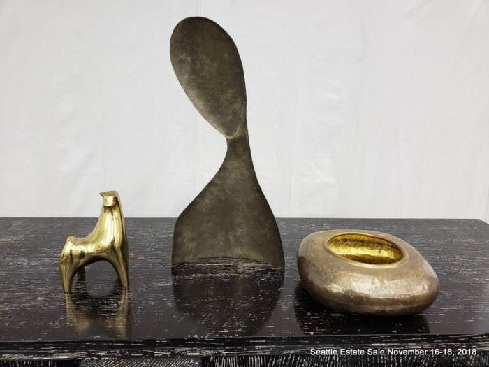 Mid-Century Modern Bronze Bull, brass silhouette, gold-tone vessel.