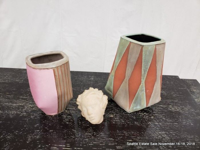 Mid Century Pottery Vases, classical bust,