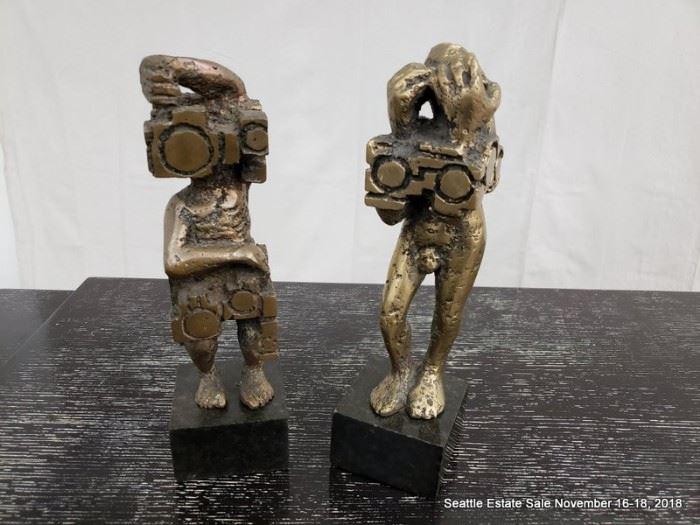 Bronze cubist figural sculpture.
