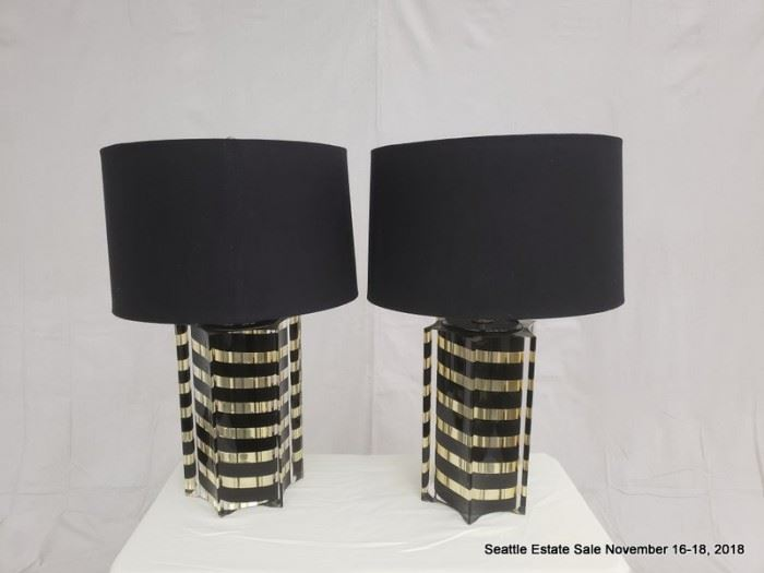 Vintage glack and gold table lamp with black shade.