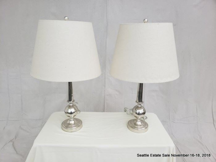 Mercury glass-style table lamp with white shade