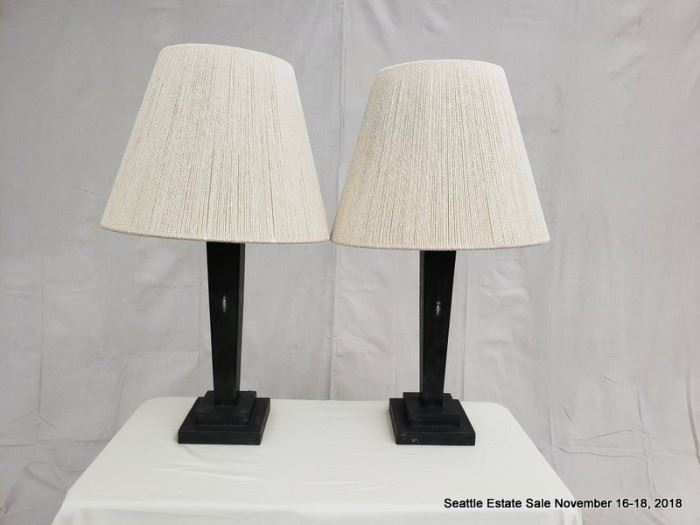 Textured table lamp with wrapped string shades.