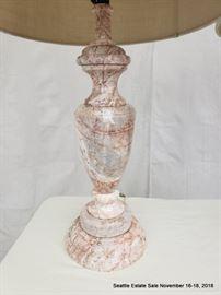 Vasiform pink marble lamp.