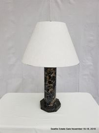 Table Lamp with octagonal marble standard and white shade.
