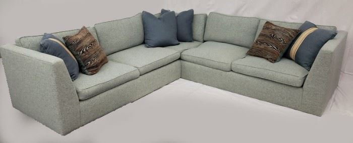 Two-piece tweed upholstered sectional sofa.