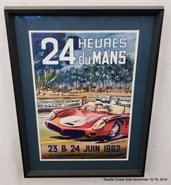 """Vintage 24 Heures du Mans Framed Poster featuring Phil Hill.Approx. Size: 15.5"""" x 22.25"""""""