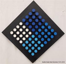 "Edward Movitz ""Blue Black and White"" wood construction.Approx. Size: 21"" x 21"""