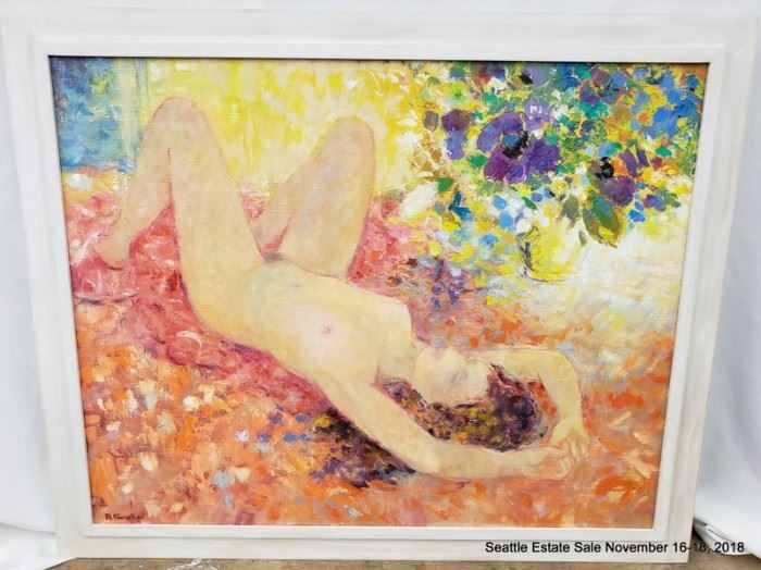 """B. Tauzella Oil Painting of a reclining nude.Approx. Size: 28"""" x 36"""""""