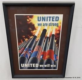 """United We Are Strong...United We Will Win"""" Henry Koerner WWII Poster.Approx. Size: 16"""" x 22"""""""