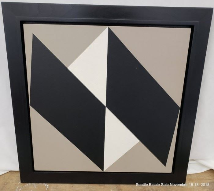 """Acrylic on Canvas, black, white & gray forms.Approx. Size: 24"""" x 24"""""""