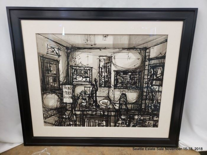 """Bruno Stern Zupan ink on paper interior of a room.Approx. Size: 28"""" x 22.5"""""""