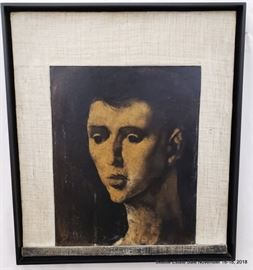 """Marcel Delmotte """"Charleroi"""" 1954 oil on panel portrait of a man.Approx. Size: 17.5"""" x 22"""""""