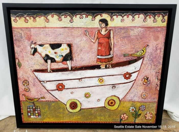"""Likely Jill Mayberg painting on panel depicting a whimsical scene.Approx. Size: 24"""" x 30"""""""