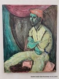 """Modernist portrait of a man in many colors.Approx. Size: 20"""" x 16"""""""