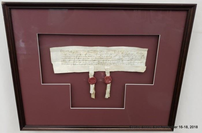 """Circa 1461 Freehold Estate transfer document with facsimile seals.Approx. Size: 5"""" x 12"""""""