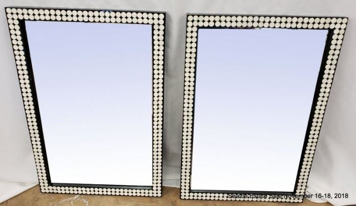 Beveled Glass Mirror with white dots on frame. (One of a pair)Approx. Size: