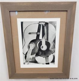 """Photography composition of monochrome guitars.Approx. Size: 11"""" x 9"""""""