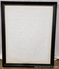 """Paper & Gesso construction by William Fredericksen dated 1972 Approx. Size: 28"""" x 23"""""""