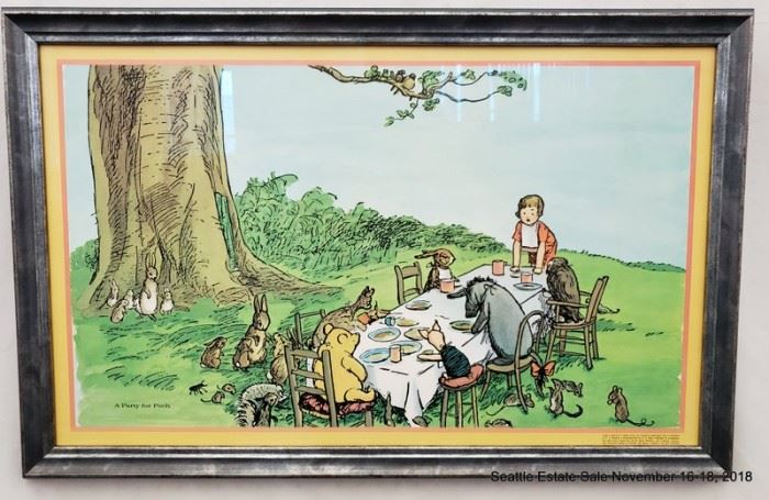 """E.H. Shepard """"A Party for Pooh"""" 1975 framed print.Approx. Size: 18"""" x 31"""""""