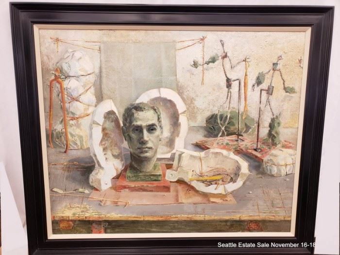 "J W Rockefeller Jr  (1898-1987)  oil on canvas dated 1958.Approx. Size: 32"" x 39"""