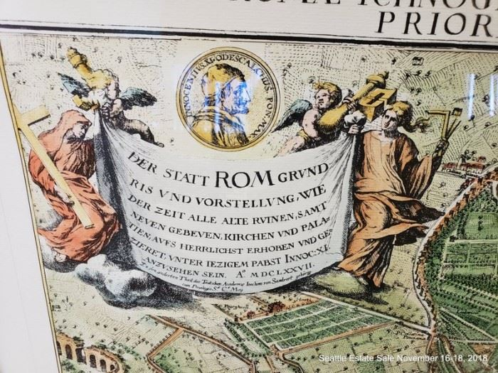 """Jacob von Sandrart hand-colored engraving of Rome. Originally published in 1679 Approx. Size: 26"""" x 32"""""""
