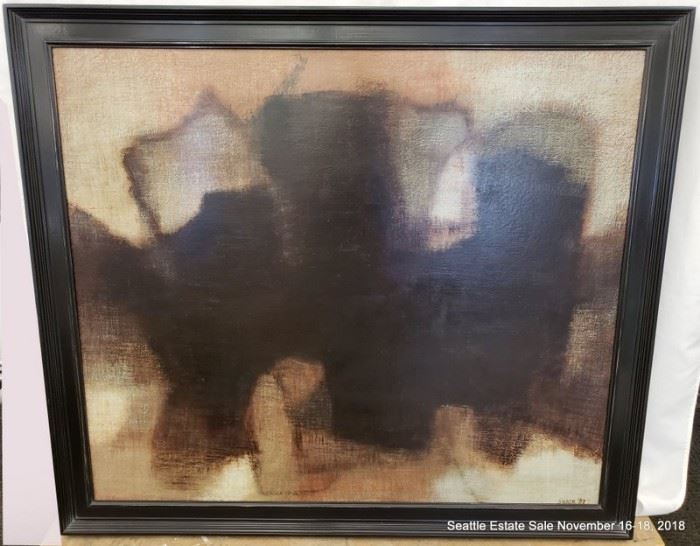 """Mary Sloane (born 1912) abstract oil on canvas. Dated 1957 Approx. Size: 36"""" x 42"""""""