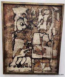 "Alberto Sartoris  (born 1901) Oil on Canvas titled: ""I Everrieri"" Approx. Size: 17"" x 21"""
