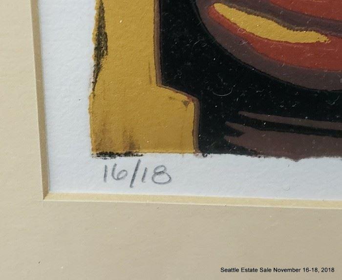 "Sam Hamrick, Wood Cut Print ""Don Quixote"" 16/18 Approx. Size: 12"" x 8"""